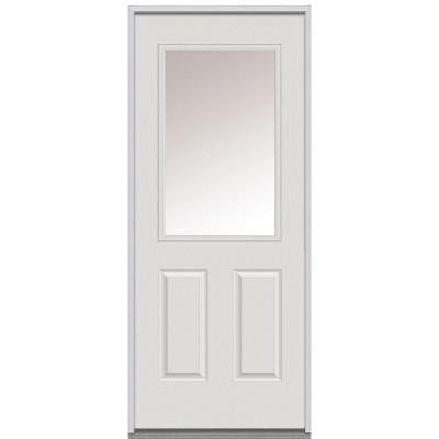 32 in. x 80 in. Classic Clear Glass 1/2 Lite 2-Panel Primed White Steel Replacement Prehung Front Door