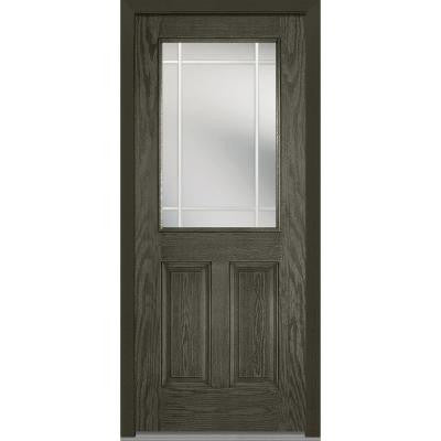 32 in. x 80 in. Classic Clear Glass PIM 1/2-Lite Finished Oak Fiberglass Prehung Front Door