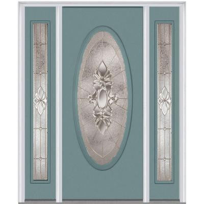 60 in. x 80 in. Heirloom Master Deco Glass Oval Lite Painted Builder's Choice Steel Prehung Front Door with Sidelites