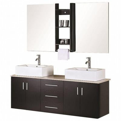Ava 61 in. W x 20 in. D Vanity in Espresso with Quartz Top and Mirror in White