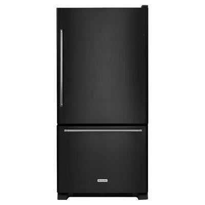 30 in. W 19 cu. ft. Bottom Freezer Refrigerator in Black