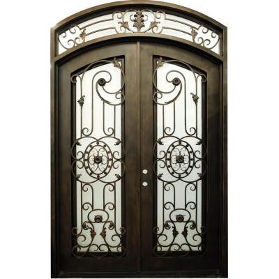 34 in. x 110 in. Classic Copper Arch Top Finished Right-Hand Inswing Wrought Iron Double Prehung Front Door with Transom