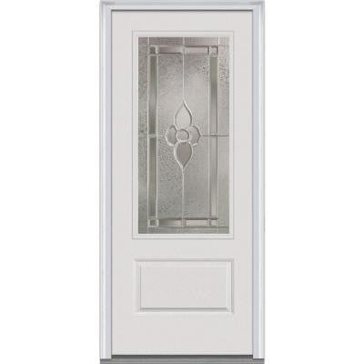 36 in. x 80 in. Master Nouveau Decorative Glass 3/4 Lite 1-Panel Primed White Fiberglass Smooth Prehung Front Door