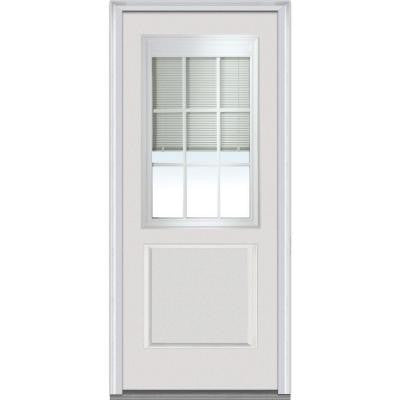 32 in. x 80 in. Internal Mini Blinds with Muntins 9 Lite 1-Panel Primed White Fiberglass Smooth Prehung Front Door