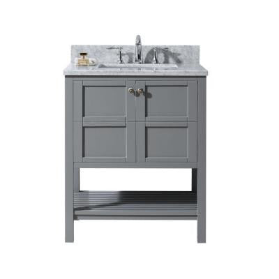 Winterfell 30 in. W x 22 in. D x 35.9 in. H Vanity in Grey with Marble Vanity Top in White with Round Basin