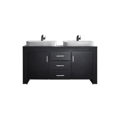 Pascara 63 in. W x 21 in. D Vanity in Espresso with Wood Vanity Top in Espresso with White Vessel Basin