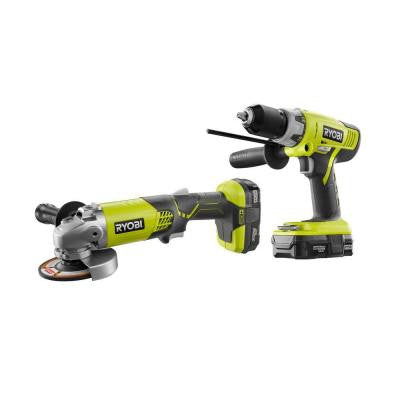 ONE+ 18-Volt Lithium-Ion Cordless Hammer Drill and Angle Grinder Combo Kit (2-Tool)