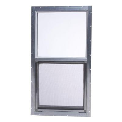 14 in. x 27 in. Mobile Home Single Hung Aluminum Window - Gray