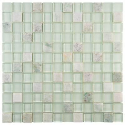 Tessera Square Ming 11-3/4 in. x 11-3/4 in. x 8 mm Glass and Stone Mosaic Wall Tile