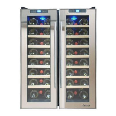23.5 in. 48-Bottle Dual Zone Thermoelectric Mirrored Wine Cooler
