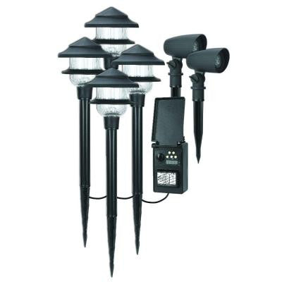 Low-Voltage LED Combo Pack with 4 Pathway Light and 2 Spot Light and 45-WattDigital Transformer and 75 ft. Cable