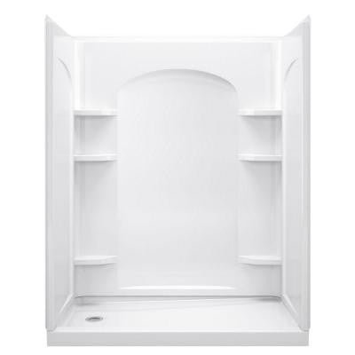 Ensemble 32 in. x 60 in. x 74-1/2 in. Shower Kit with Left-Hand Drain in White