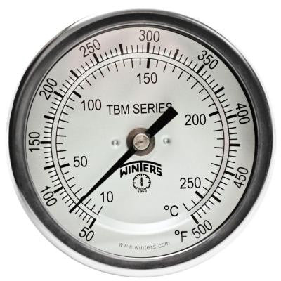 TBM Series 3 in. Dial Thermometer with Fixed Center Back Connection and 6 in. Stem with Range of 50-500°F/C