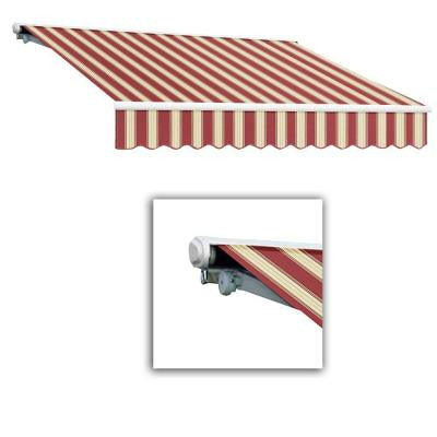 12 ft. Galveston Semi-Cassette Right Motor with Remote Retractable Awning (120 in. Projection) in Burgundy/White Multi