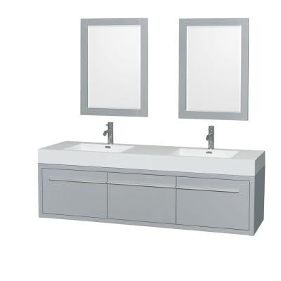 Axa 72 in. W x 21.75 in. D Vanity in Dove Gray with Acrylic Resin Vanity Top in White with White Basins and Mirror