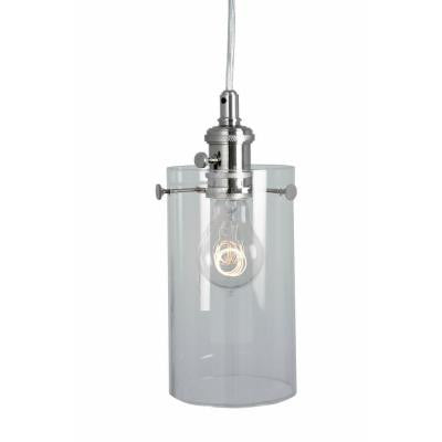 1-Light Clear Glass Ceiling Cylinder Pendant