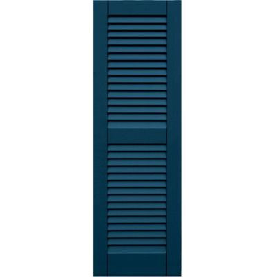 Wood Composite 15 in. x 47 in. Louvered Shutters Pair #637 Deep Sea Blue