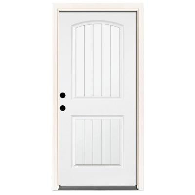 36 in. x 80 in. Premium 2-Panel Plank Primed White Steel Prehung Front Door with 36 in. Right-Hand Inswing & 4 in. Wall