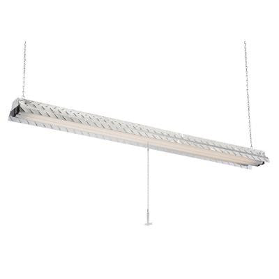 Steel Plate 2-Lamp Hanging Fluorescent Silver ShopLight