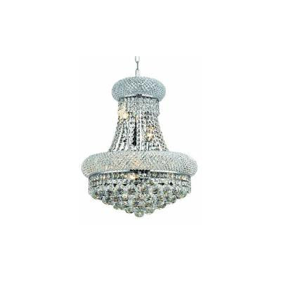 8-Light Chrome Wall Sconce with Clear Crystal