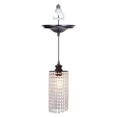 1-Light Brushed Bronze Instant Pendant Conversion Kit with Clear Crystal Shade