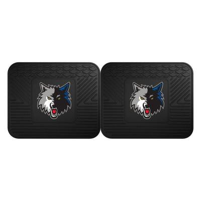 NBA Minnesota Timberwolves Black Heavy Duty 2-Piece 14 in. x 17 in. Vinyl Utility Mat