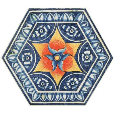 Hexatile Basilica Pepe 7 in. x 8 in. Porcelain Floor and Wall Decor Tile