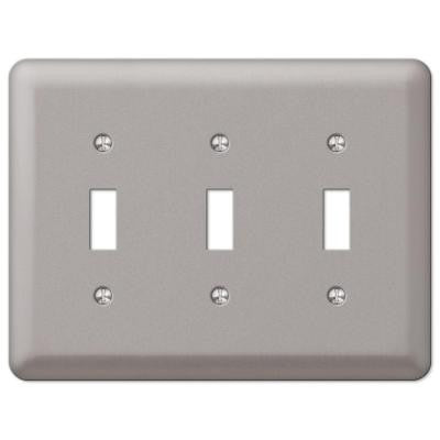 Steel 3 Toggle Wall Plate - Pewter