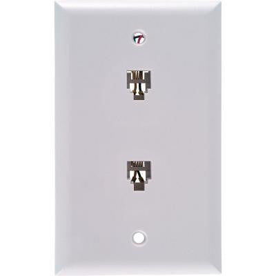 4-Conductor Dual Wall Jack - White