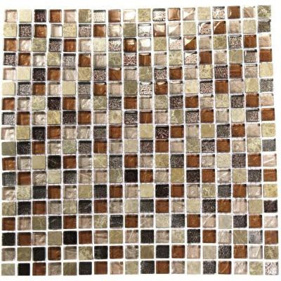 Outback Brown Blend 12 in. x 12 in. x 8 mm Marble and Glass Mosaic Floor and Wall Tile
