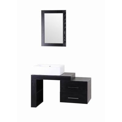 Tania 42 in. W x 18 in. D Vanity in Black with MDF Vanity Top in Black with White Basin and Mirror