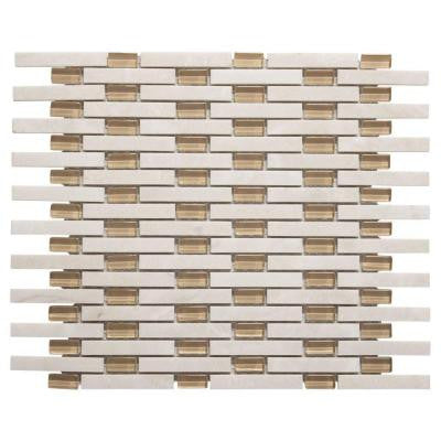 White Plains 13.75 in. x 11 in. x 8 mm Glass/White Marble Mosaic Wall Tile