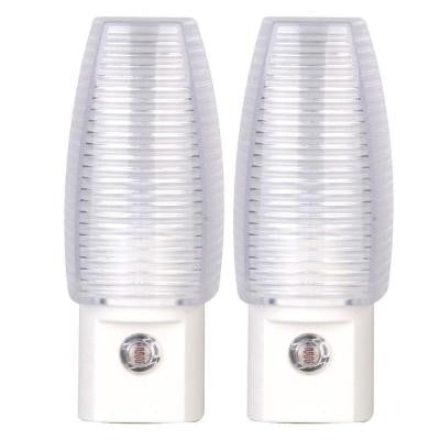 White Automatic Dusk to Dawn Incandescent Night Light (2-Pack)
