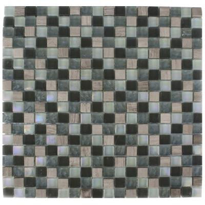 Galaxy Blend Squares 12 in. x 12 in. x 8 mm Marble and Glass Mosaic Floor and Wall Tile