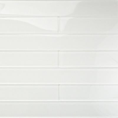 Contempo Vista Bright White 2 in. x 16 in. x 8 mm Polished Subway Glass Wall Tile