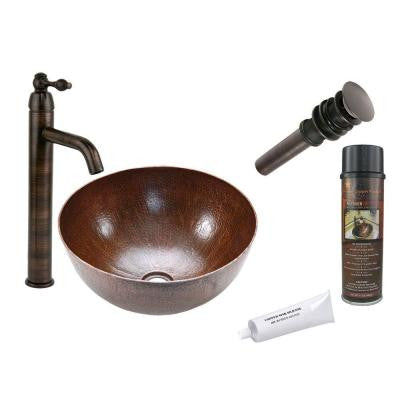 All-in-One Medium Round Vessel Hammered Copper Bathroom Sink in Oil Rubbed Bronze