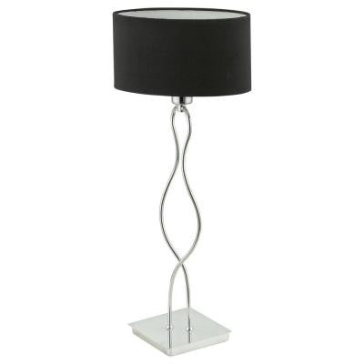 Fiorella 20-3/8 in. Chrome Table Lamp with Black Shade