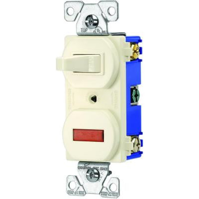 15-Amp Single Pole Combination Toggle Switch and Pilot Light - Almond