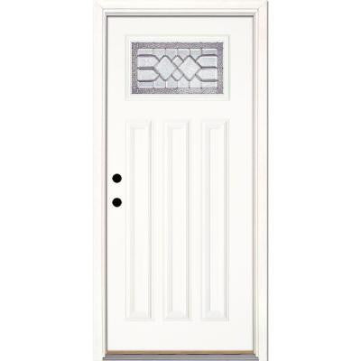 37.5 in. x 81.625 in. Mission Pointe Zinc Craftsman Unfinished Smooth Fiberglass Prehung Front Door