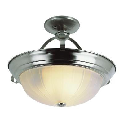 Cabernet Collection 2-Light Brushed Nickel Semi-Flush Mount Light with White Frosted Melon Shade