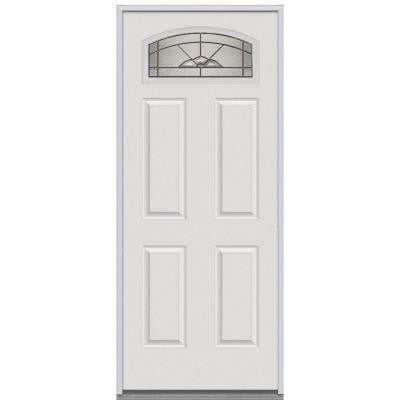 32 in. x 80 in. Master Nouveau Deco Glass Segmented 1/4 Lite 4-Panel Primed White Steel Replacement Prehung Front Door