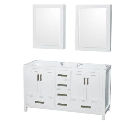 Sheffield 59 in. Double Vanity Cabinet with Medicine Cabinets in White