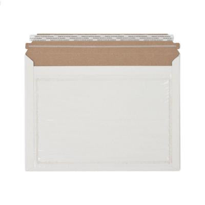 12.5 in. x 9.5 in. White Paperboard Stay Flat Mailers with Adhesive Easy Close Strip and Window 250/Case
