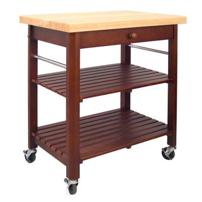 20 in. Cherry Stained Kitchen Cart