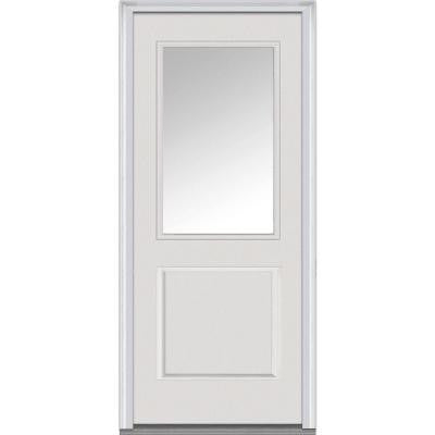 32 in. x 80 in. Classic Clear Glass 1/2 Lite 1-Panel Primed Fiberglass Smooth Prehung Front Door
