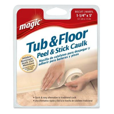 1-1/4 in. x 5 ft. Tub and Floor, Peel and Stick Caulk Strip in Biscuit
