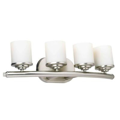 4-Light Brushed Nickel Bath Vanity Light with Satin Opal Glass Shade