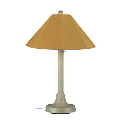 San Juan 34 in. Outdoor Bisque Table Lamp with Brass Shade