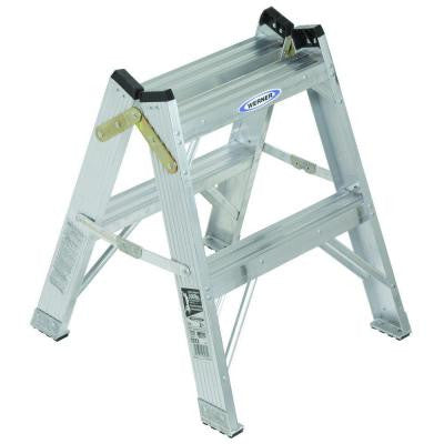 2 ft. Aluminum Twin Step Stool Ladder with 300 lb. Load Capacity Type IA Duty Rating