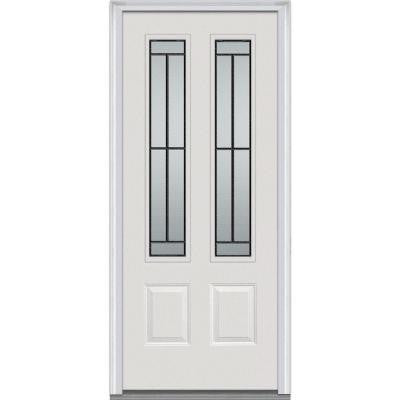 Madison Decorative Glass 32 in. x 80 in. 2 Lite 2-Panel Primed White Majestic Steel Prehung Front Door
